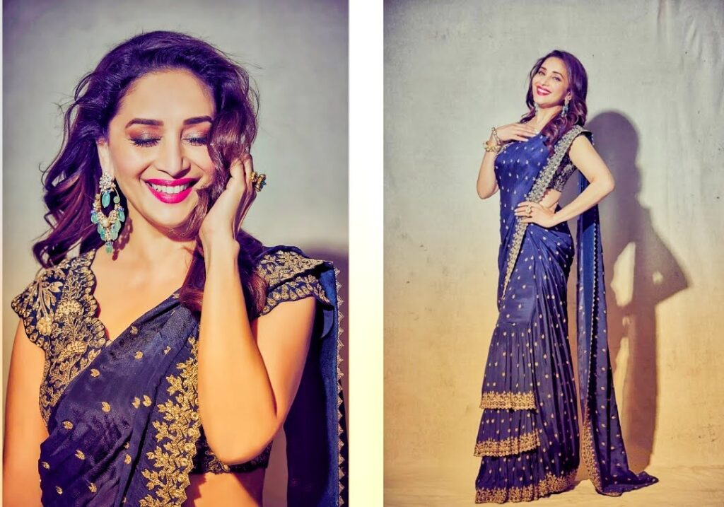 Madhuri Dixit kills in designer blue saree, drops PHOTOS...
