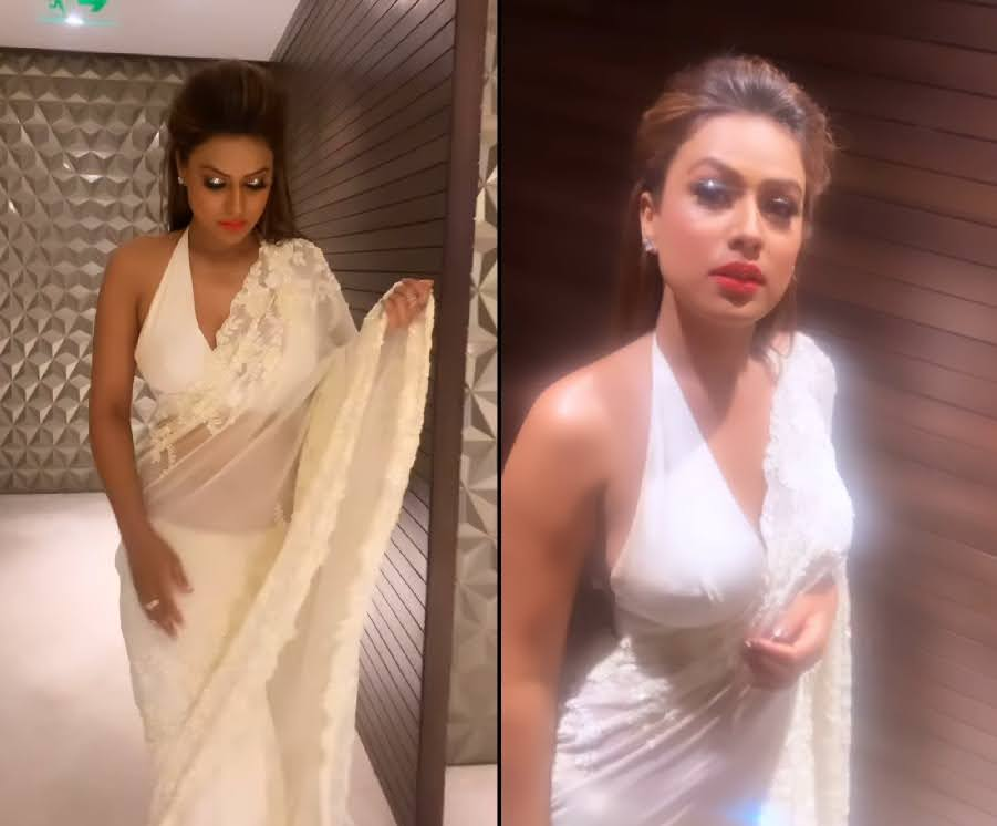 Nia Sharma fire up the Gram in white saree and backless blouse, WATCH...